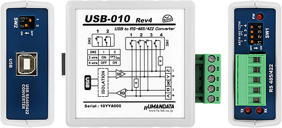 Usb 010 Rev4 Usb Rs485 Rs422 Converter High Speed Type Humandata